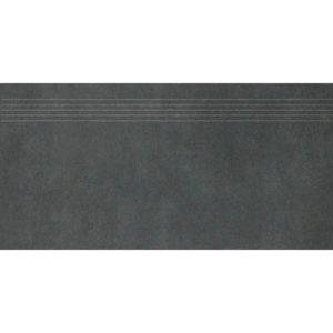 Produktbild Treppenfliese - Rillenstufe Esta schwarz 30x60 matt