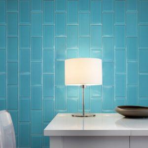 Produktbild Metrofliese - Wandfacettenfliese Marisa azul turquesa 20×10 glänzend
